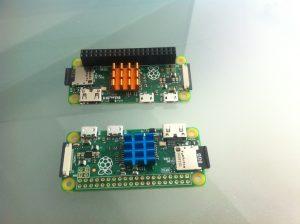 Cele două PI Zero, cu și fără portul GPIO.