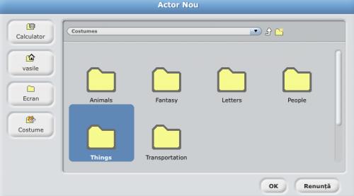 Alegerea unui actor dintre imaginile venite cu Scratch.